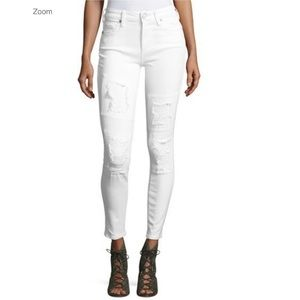 Weekday Wednesday Destroyed patch skinny jeans